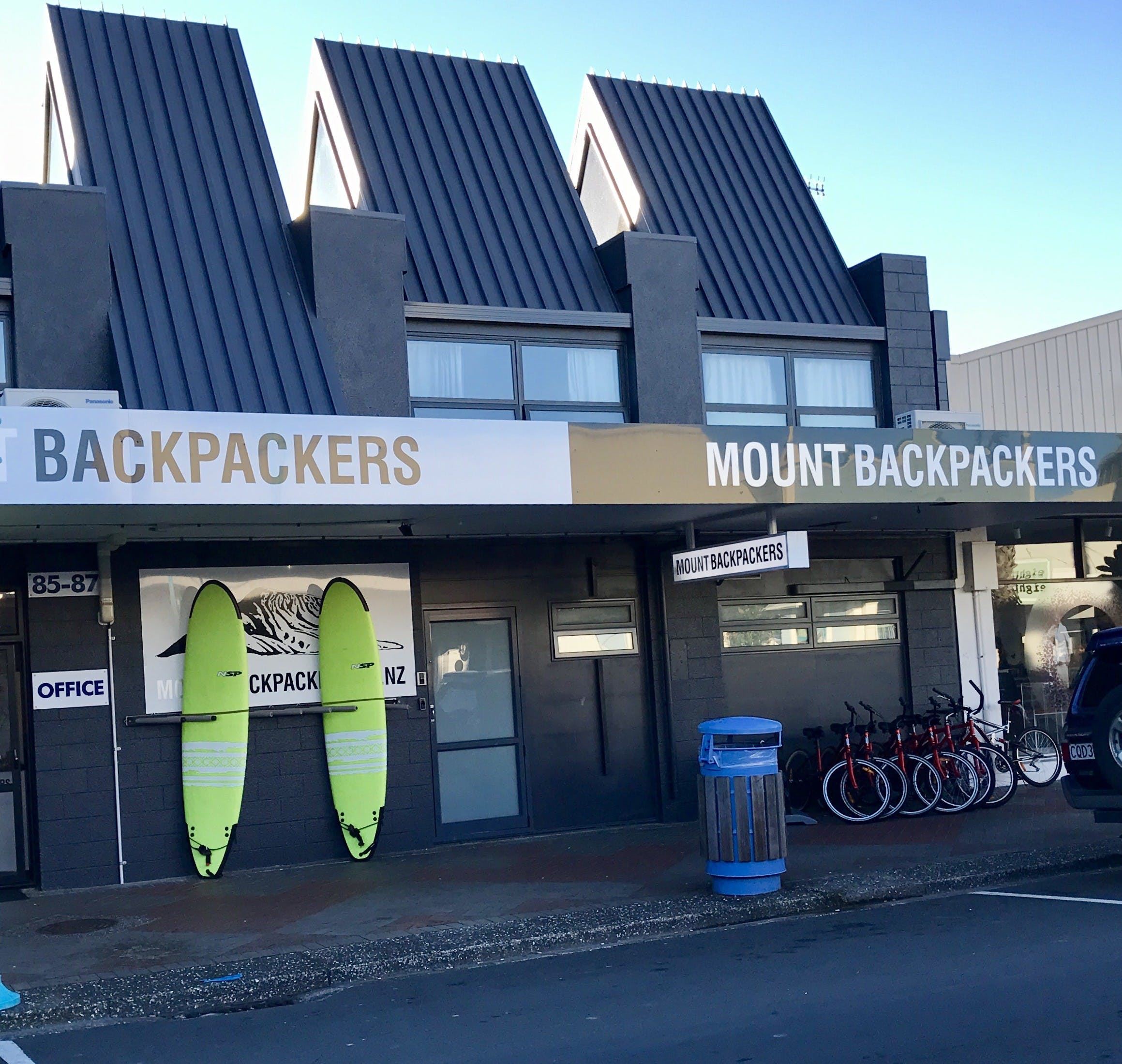 Road frontage of our hostel, right on the doorstep of all the action downtown Mount Maunganui