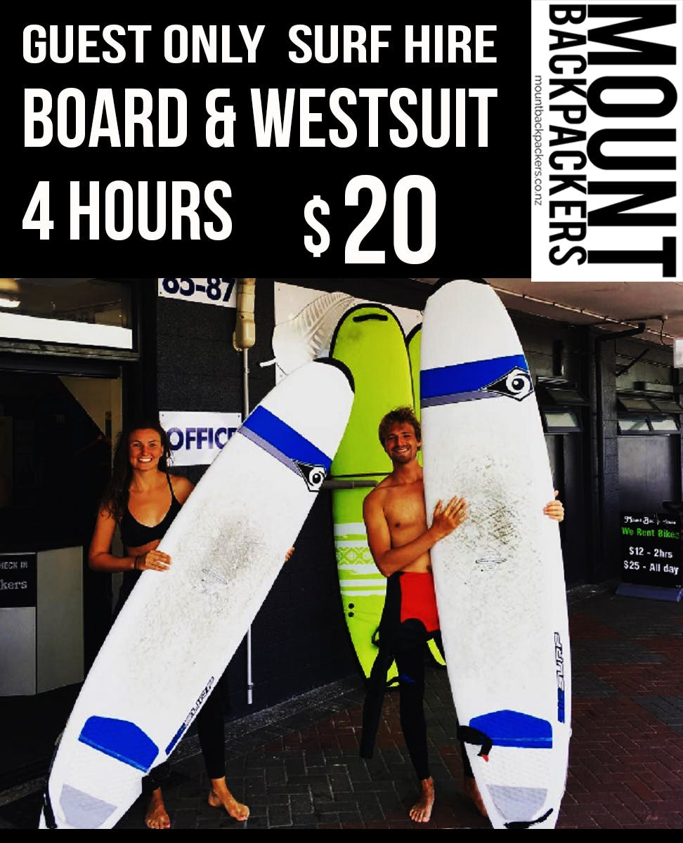 Surf rental special, hire a surfboard and wetsuit for $20 per 4 hour session. All level of boards available, 8.4 - Fish