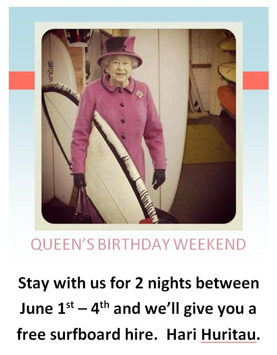 Queens Birthday weekend stay, free surfboard hire, Mount Maunganui