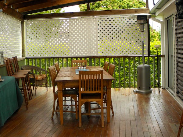 Under cover deck with seating for 8. Large and spacious