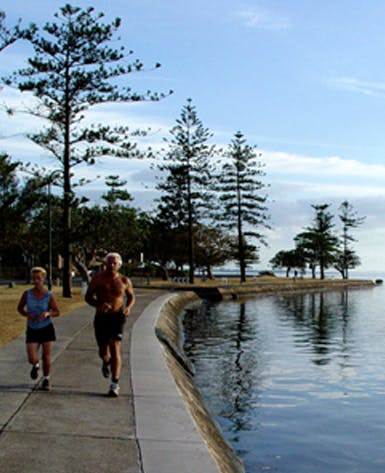 100m to the Esplanade. 5km of waterfront walking.