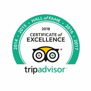Tripadvisor Hall of Fame for excellence in all aspects of excellence 2014 2015 2016 2017 2018