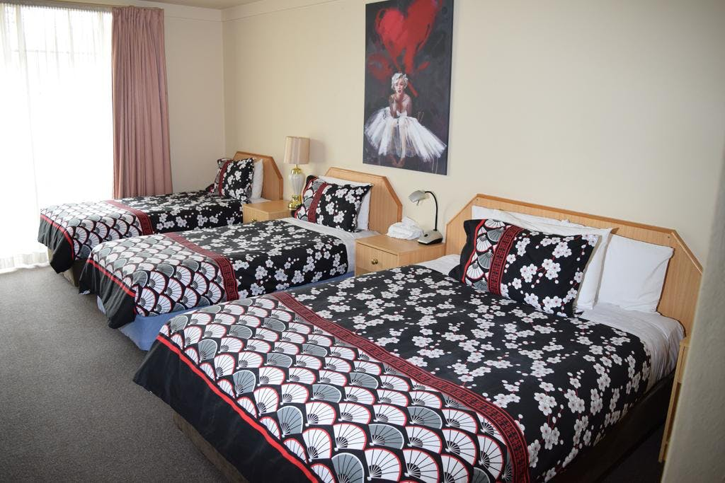 Family room style with Queen and 2 single beds. Other rooms available which handle larger family and groups. Contact motel.