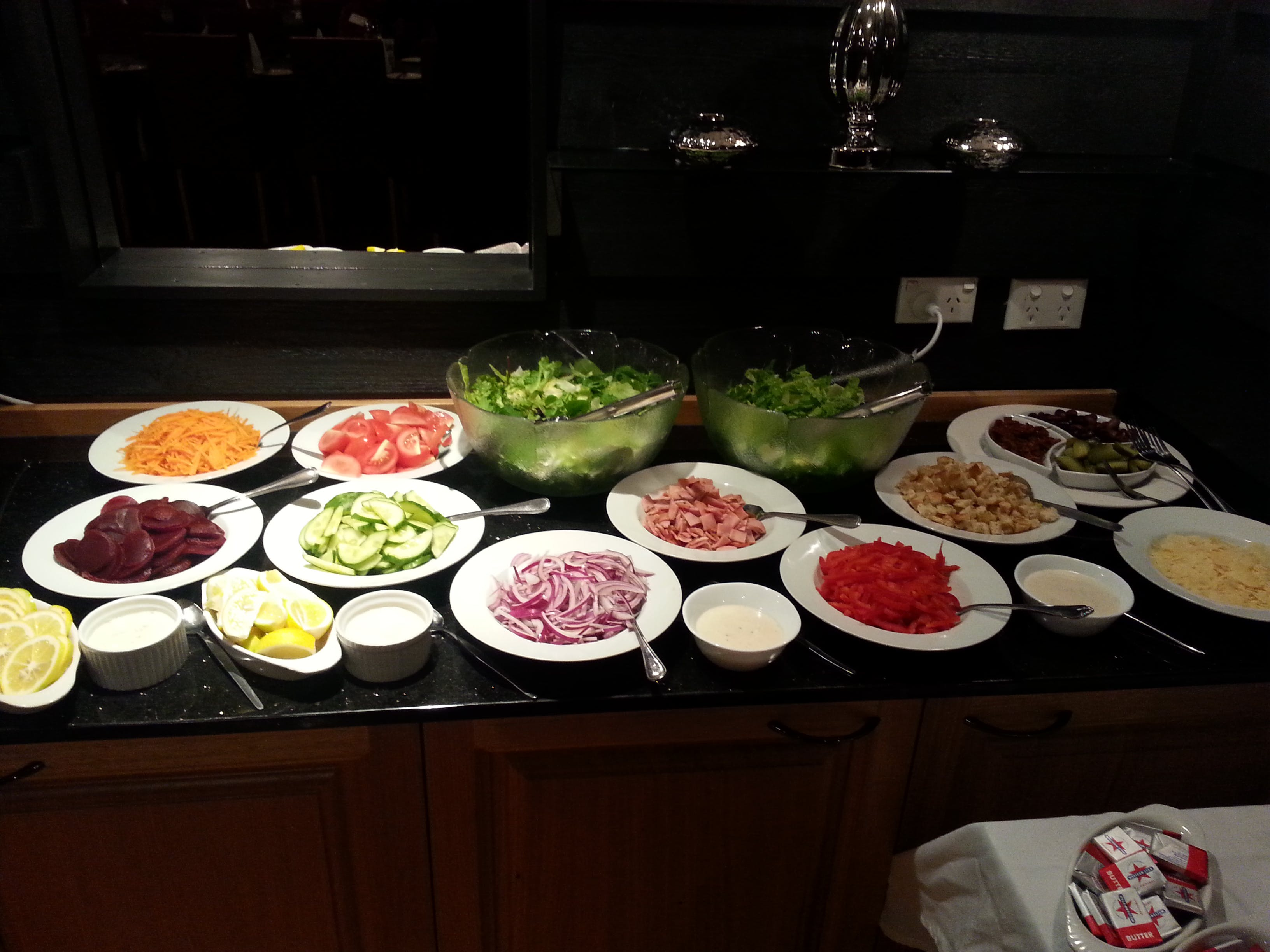 Some of the lovely fresh salads and side dishes from our buffets menu for groups and bookings.