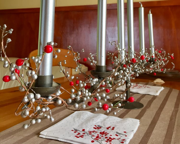 Christmas decor and candles in the guest lounge at Tongariro Crossing Lodge