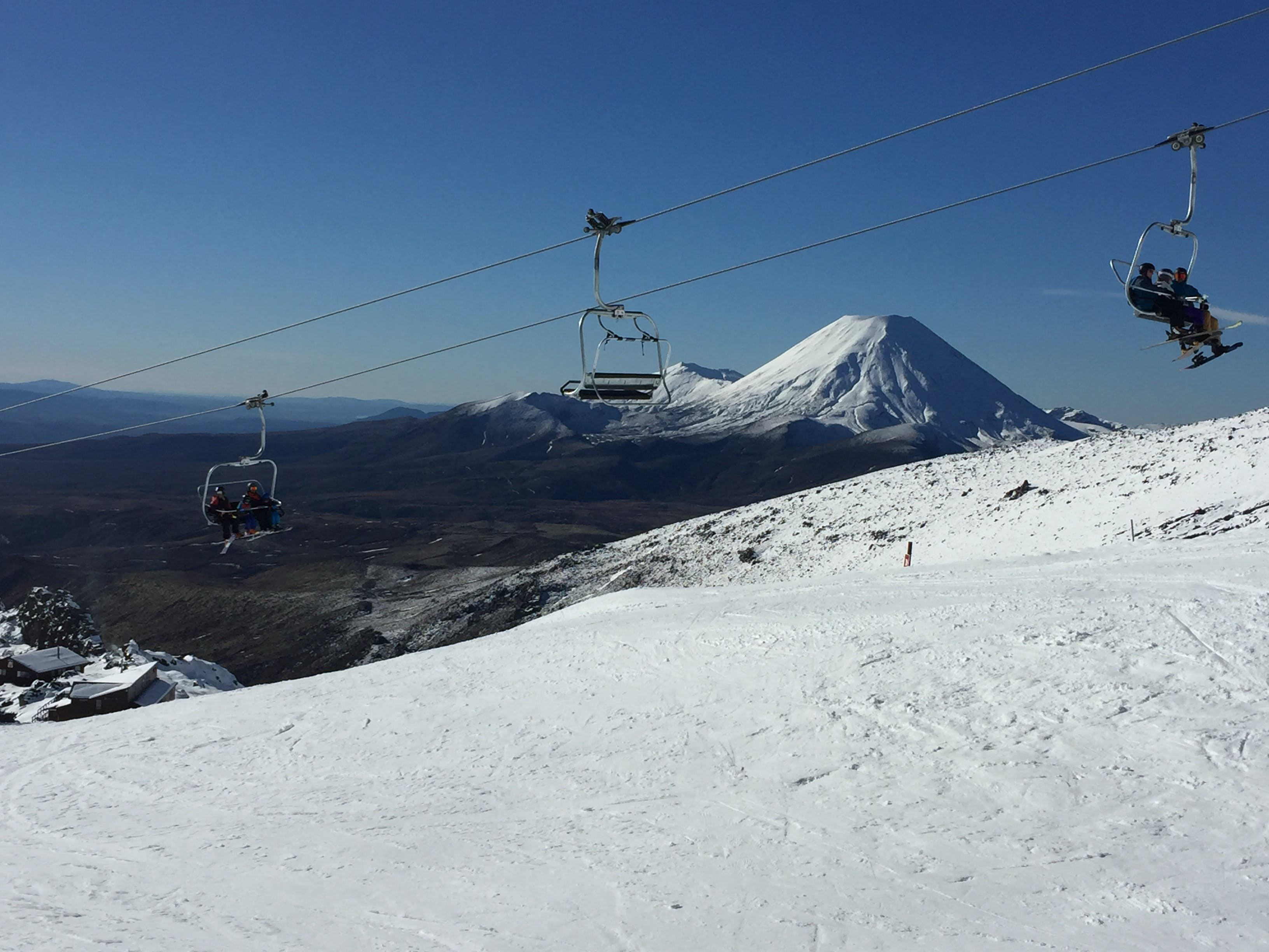 View of Mt Ngauruhoe and Mt Tongariro from Mt Ruapehu ski field Whakapapa