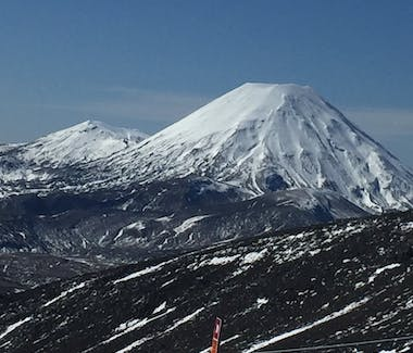 Mt Ngauruhoe and Tongariro covered in snow in winter.