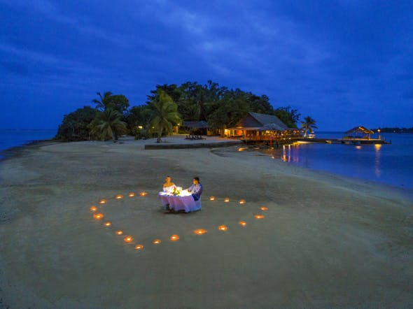 romantic chef dinner on erakor island resort and spa #romanticdinnerfortwo tropical island romance private beach