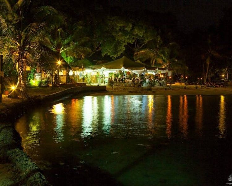 Calypso Beach at night MagicalMarquee #erakorbeachweddings #weddingreceptionthebeachsouthpacific #Vanuatutropicalbeachwedding