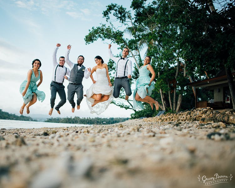 Jumping for joy on beautiful Sunset Beach #erakorbeachweddings #weddingceremonyonthebeachsouthpacific #vanuatuislandweddings