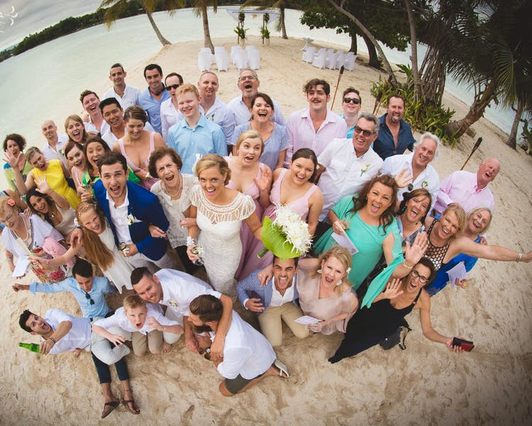 Erakor Island Coconut Beach Group Photo #erakorbeachweddings #weddingceremonyonthebeachsouthpacific #vanuatuislandweddings