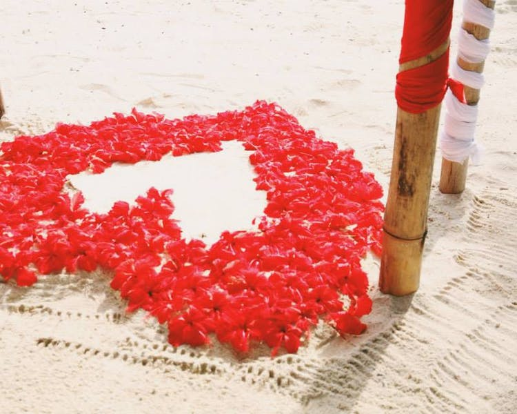 Floral Heart in the Sand! erakor island Beach perfect wedding in Vanuatu