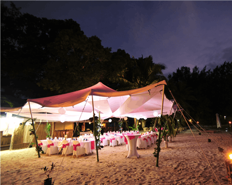 Reception set up on Calypso Beach #erakorbeachweddings #weddingonthebeachsouthpacific #Vanuatutropicalbeachweddings