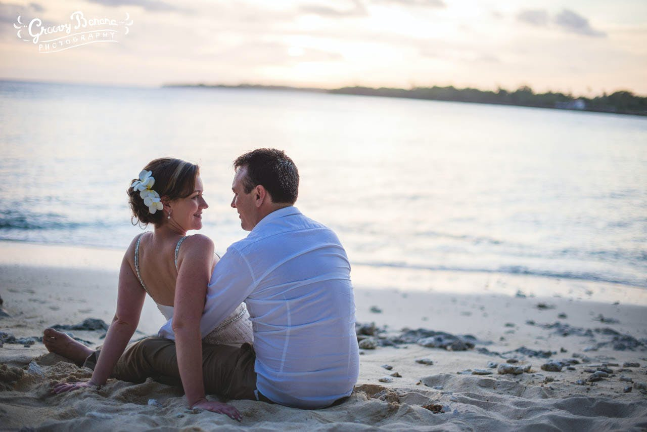 White sand beach and water surrounding you, perfect place to relax and share a moment as newly weds