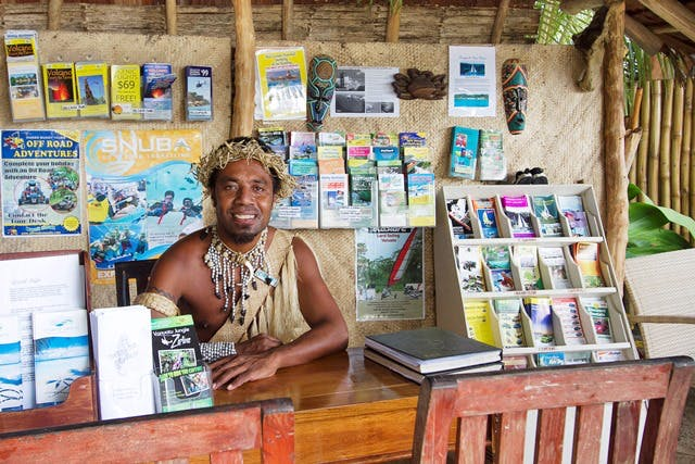 Chief Henry in the tour hut erakor island resort Vanuatu tourism