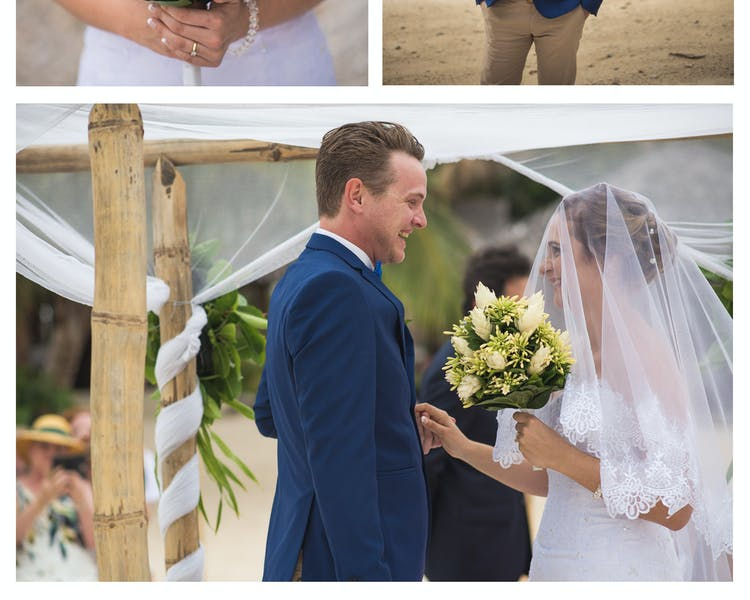 Sunset Beach Wedding Ceremony #erakorbeachweddings #weddingceremonyonthebeach #tropicalbridalbouquet