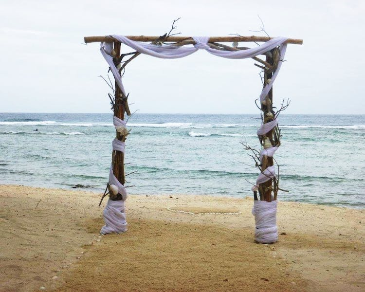 Sunset Beach Wedding Arch Wedding on Calypso Beach erakor island resort Vanuatu