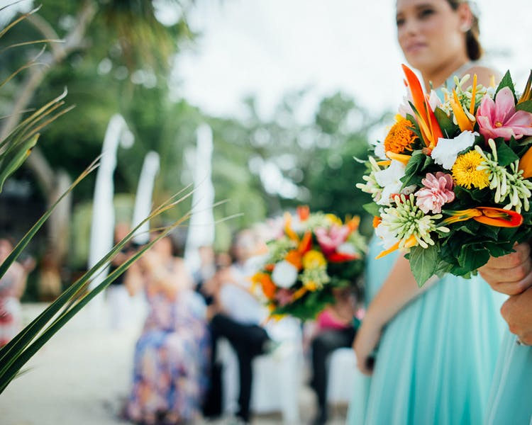 Bridesmaid posy erakor island resort wedding flowers #erakorislandresort #tropicalbridalbouquet