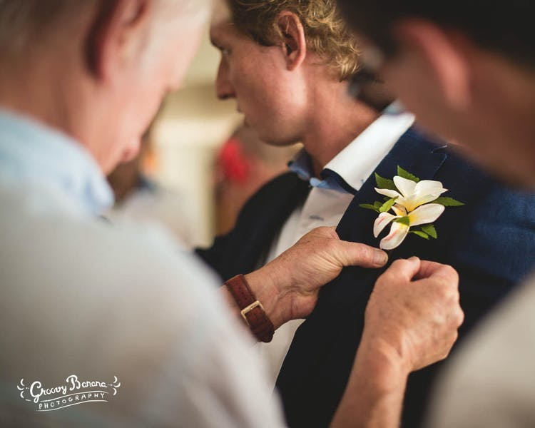 Grooms buttonhole erakor wedding flowers #erakorbeachweddings #weddingceremonyonthebeachsouthpacific #vanuatuislandweddings
