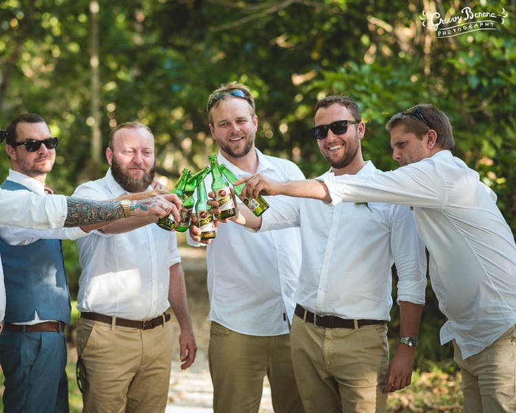 Having a cold Tusker after the wedding ceremony #erakorweddings