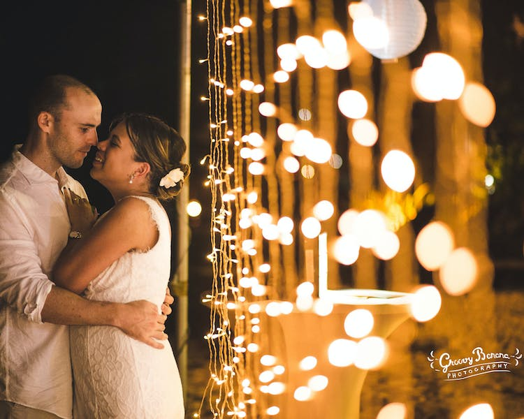 Fairy lights add that romantic touch to your reception decor #erakorbeachweddings #weddingreceptionthebeachsouthpacific
