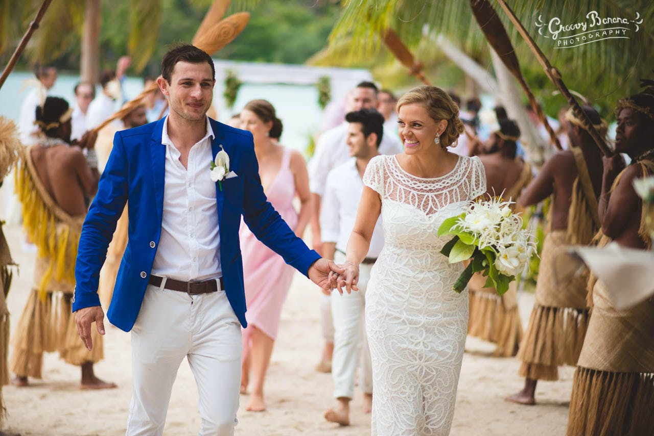 Bride & Groom on Coconut Beach #erakorweddings #weddingceremonyonthebeach #Vanuatutropicalbeachweddings