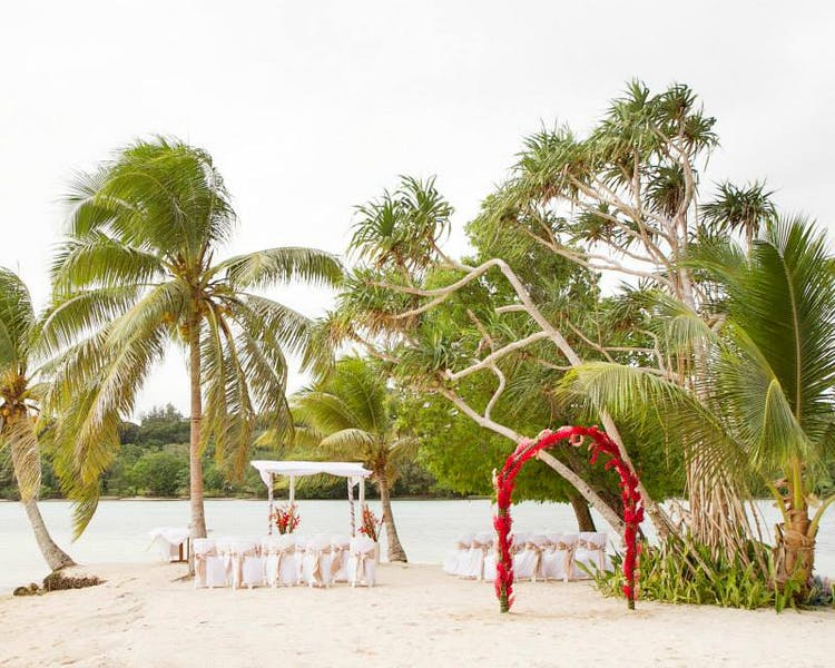 Coconut Beach Wedding Ceremony #erakorweddings #weddingceremonyonthebeach #Vanuatutropicalbeachweddings floral arch