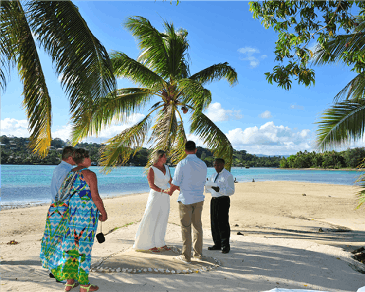 Wedding ceremony on Coconut Beach #erakorbeachweddings #weddingceremonyonthebeachsouthpacific #Vanuatutropicalbeachweddings
