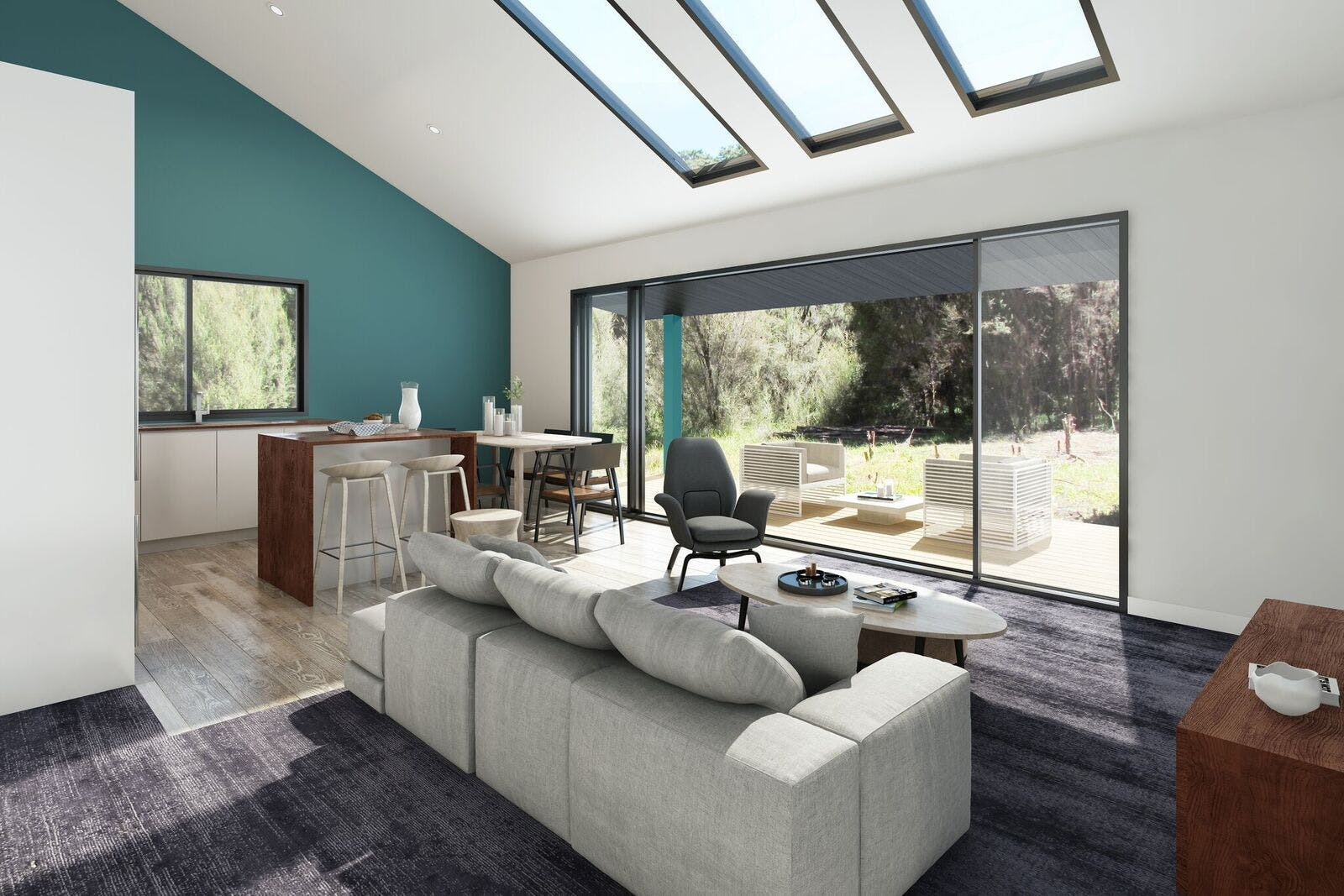 Artist impression of living area.