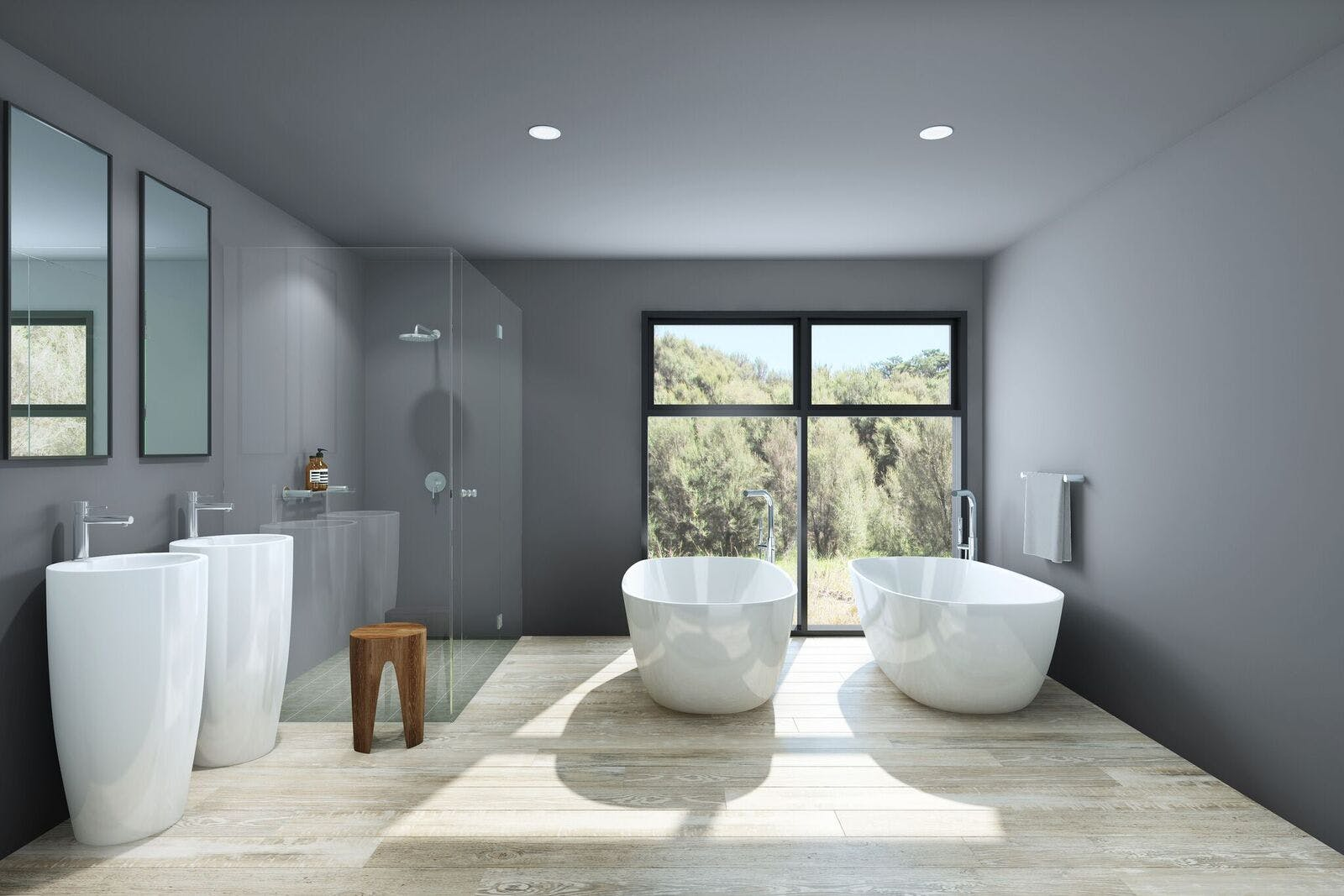Artisit impression of bathroom. Enjoy a relaxing bath with the two of you while looking out over the native bush.