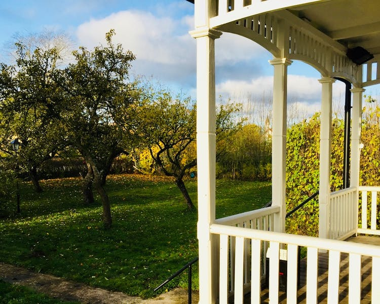View of our verandah and part of the orchard