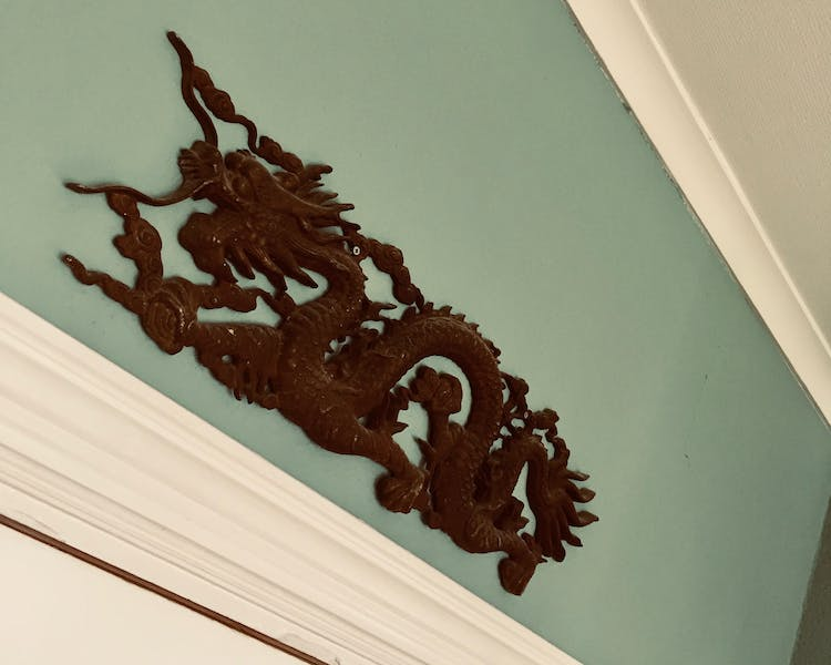 The Chinese dragon guarding our bed and breakfast in Ekeby