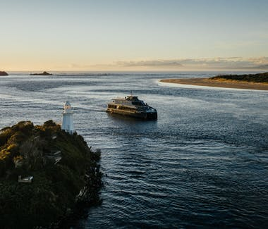 Spirit of the Wild entering Hells Gates, entrance to Macquarie Harbour