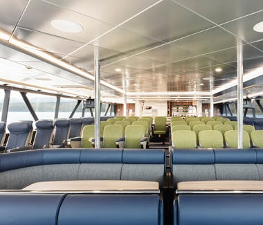 Main Deck Seating on-board Spirit of the Wild, Gordon River Cruises