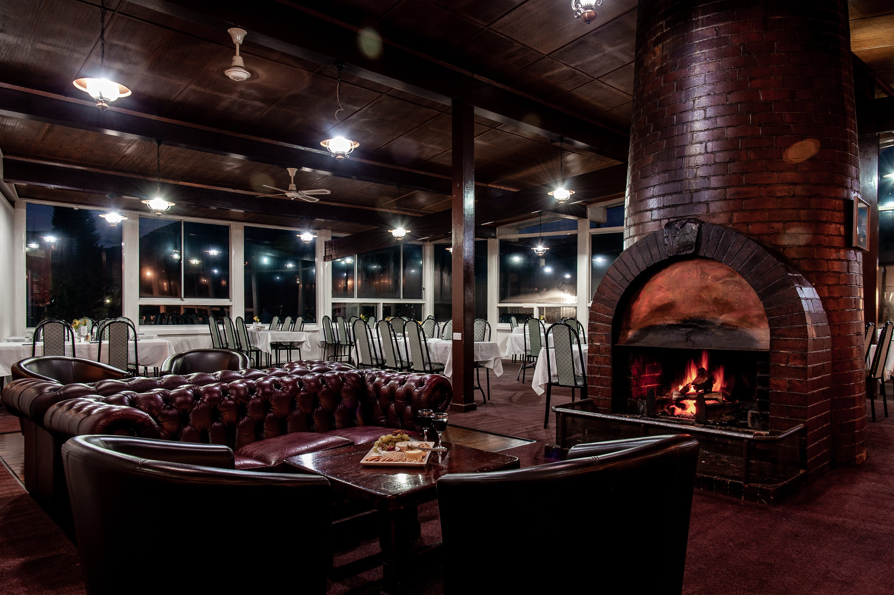 Night time in Smelters Restaurant with fire going
