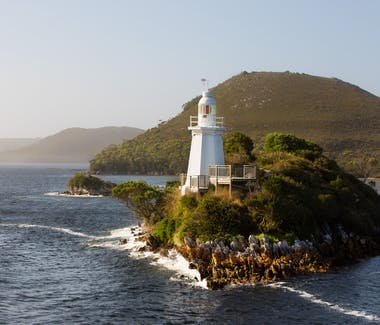Bonnet Island in the entrance of Macquarie Harbour