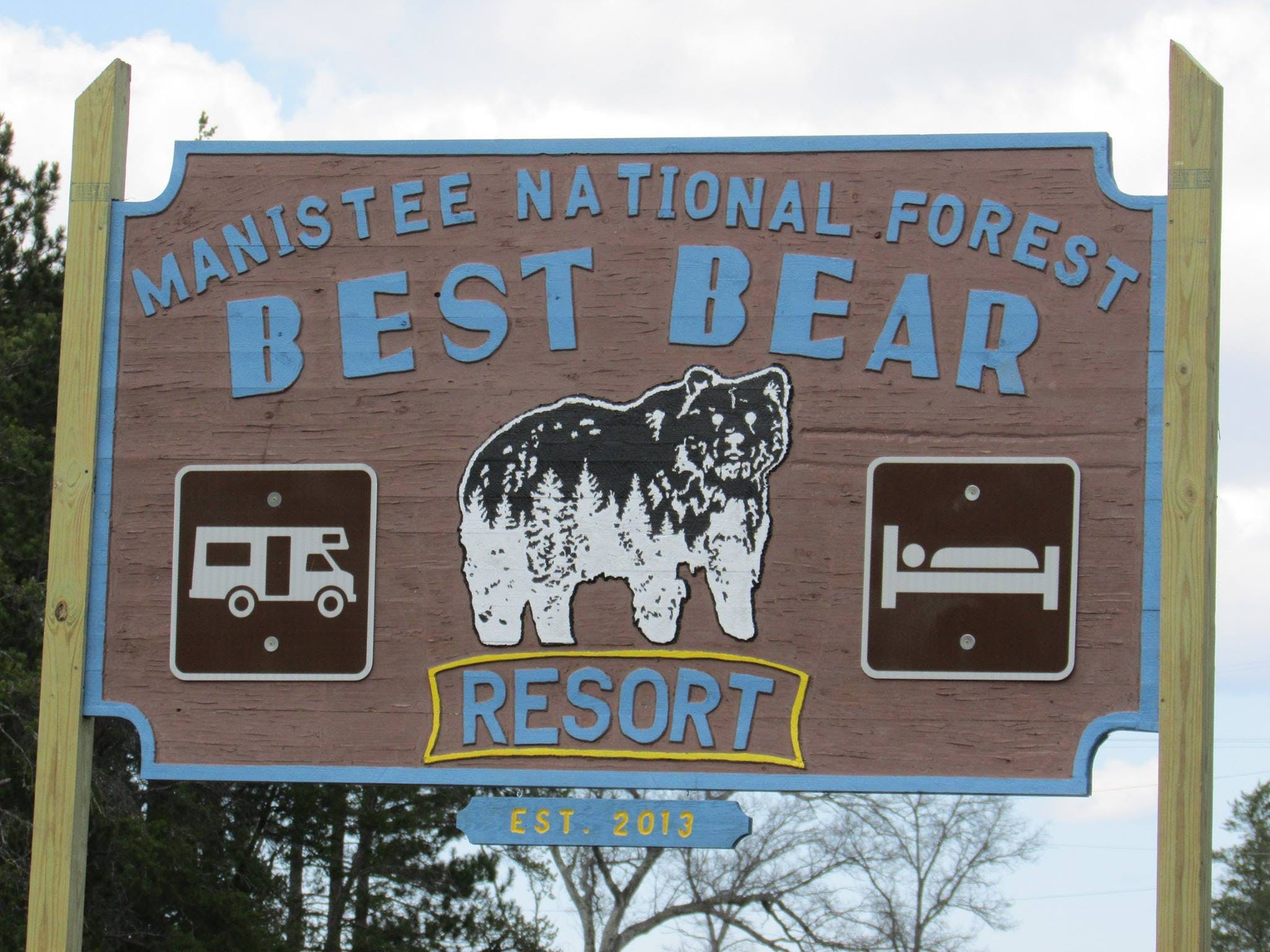 our sign, Best Bear Resort Irons, Michigan