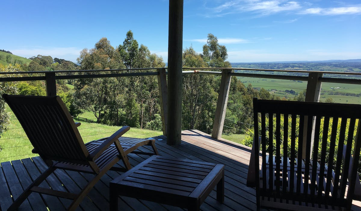 Stunning views year round form the deck at Taronga Cottage in West Gippsland