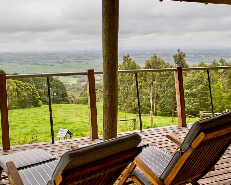 Sit back and relax on the deck at Tandara Cottage, Anderley in Gippsland