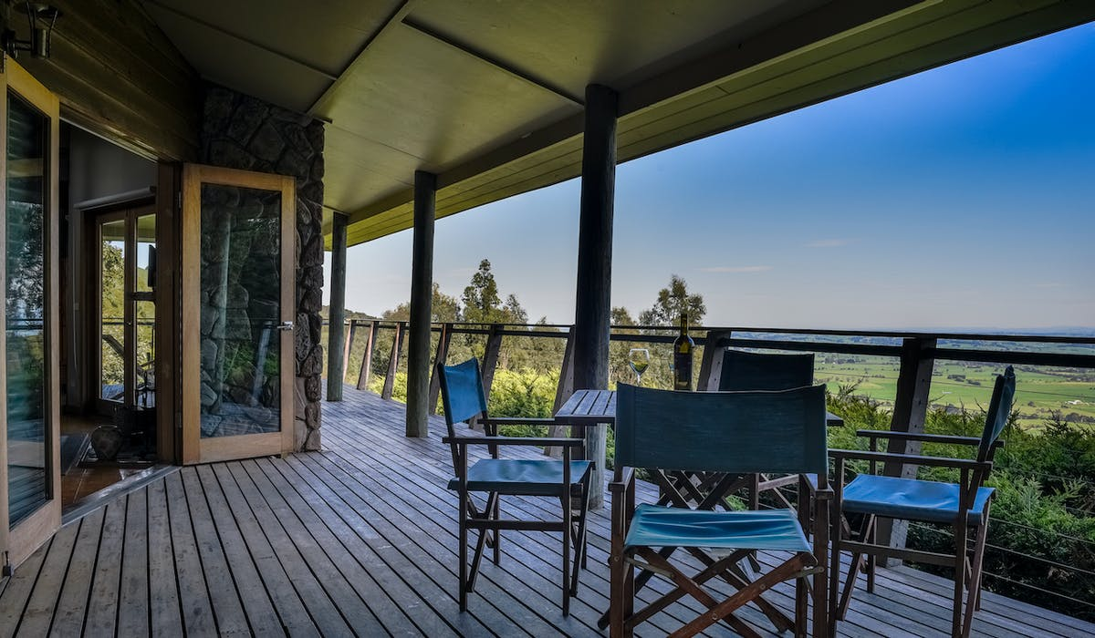 Expansive deck area of Taronga at Anderley in Gippsland