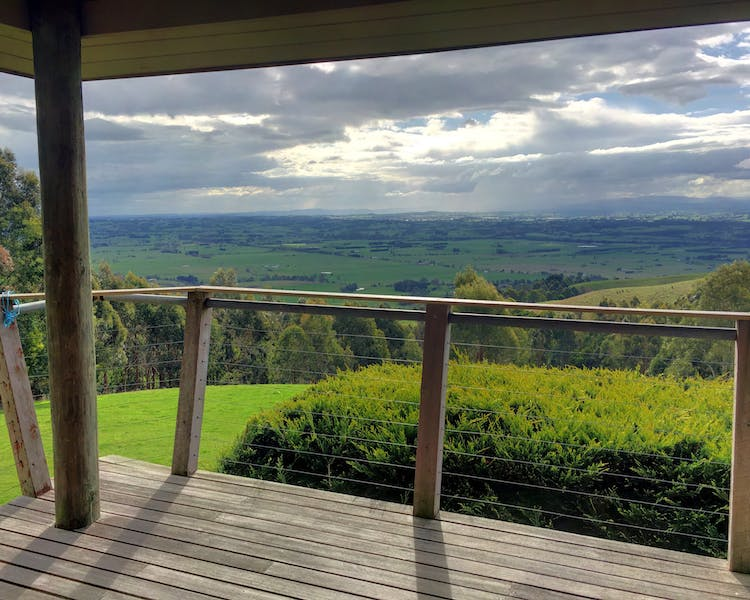 Scenic rural views from the large deck at Taronga cottage Anderley in Gippsland