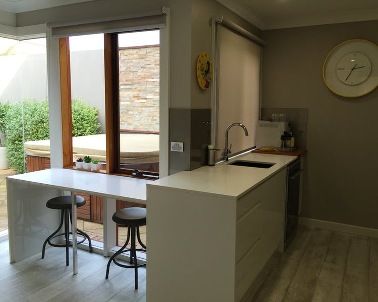 Kitchen out to spa in courtyard