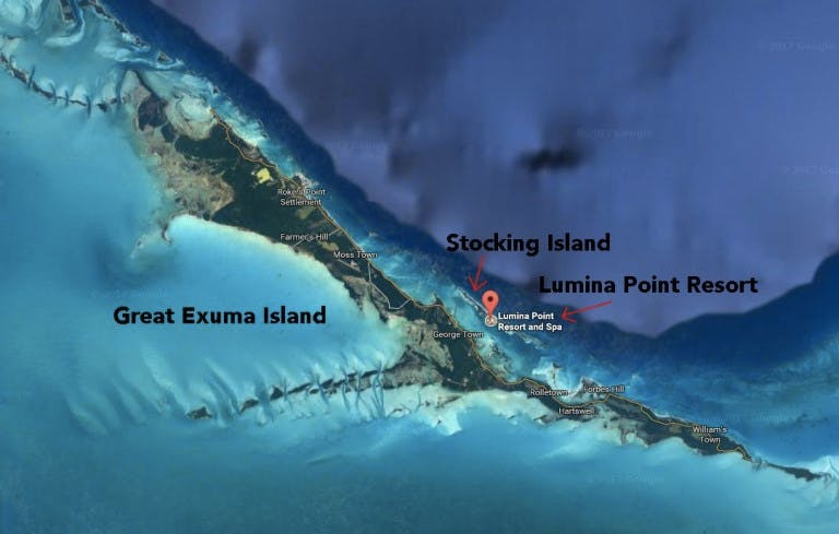 aerial map of great Exuma and Stocking Islands