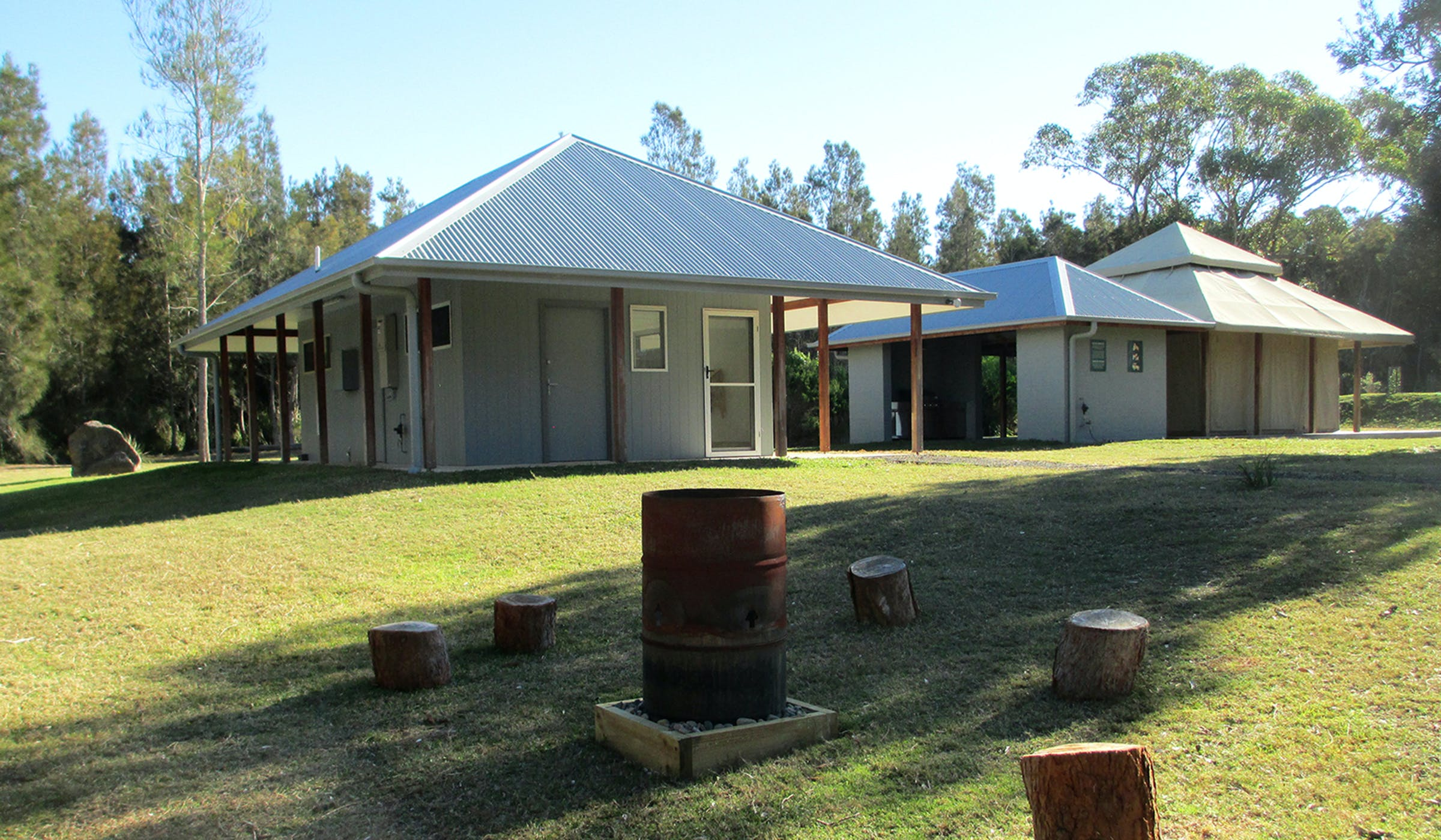 Bangalay Retreat camp kitchen and bbq pavilion