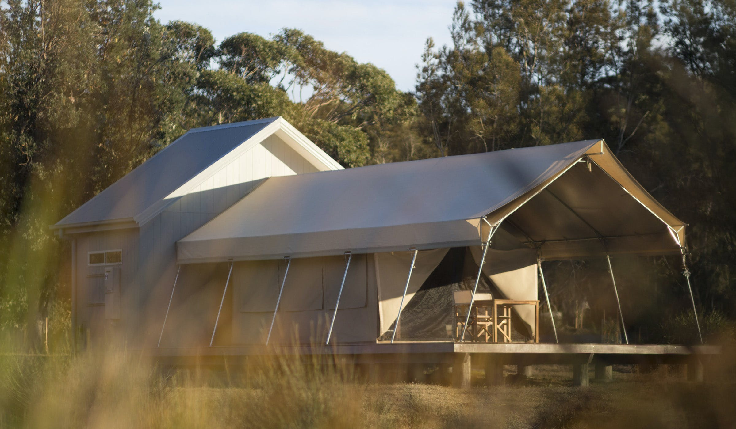 Bangalay Retreat glamping safari tent at Bawley Point