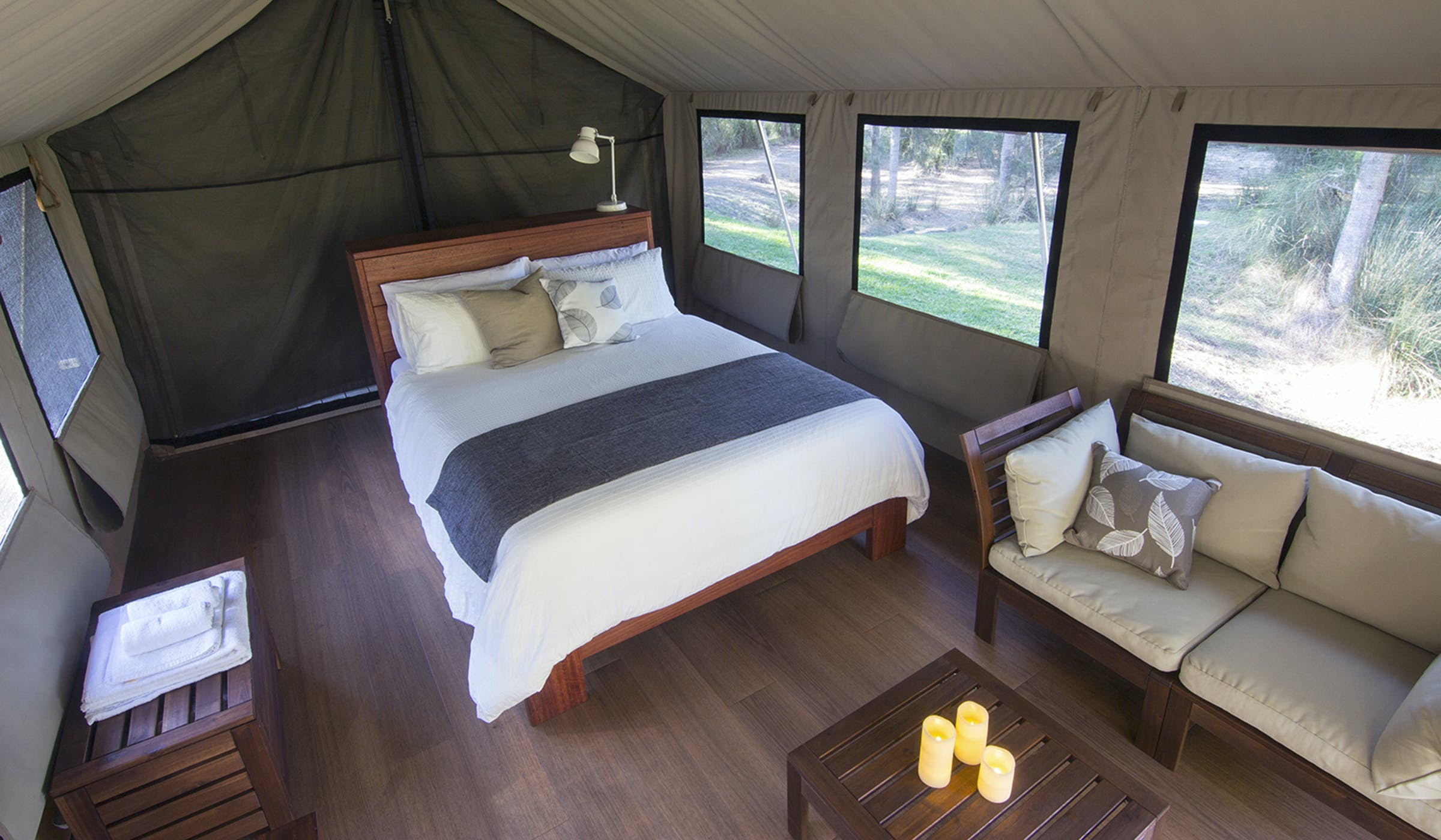 Bangalay Retreat glamping safari tent at Bawley Point, NSW