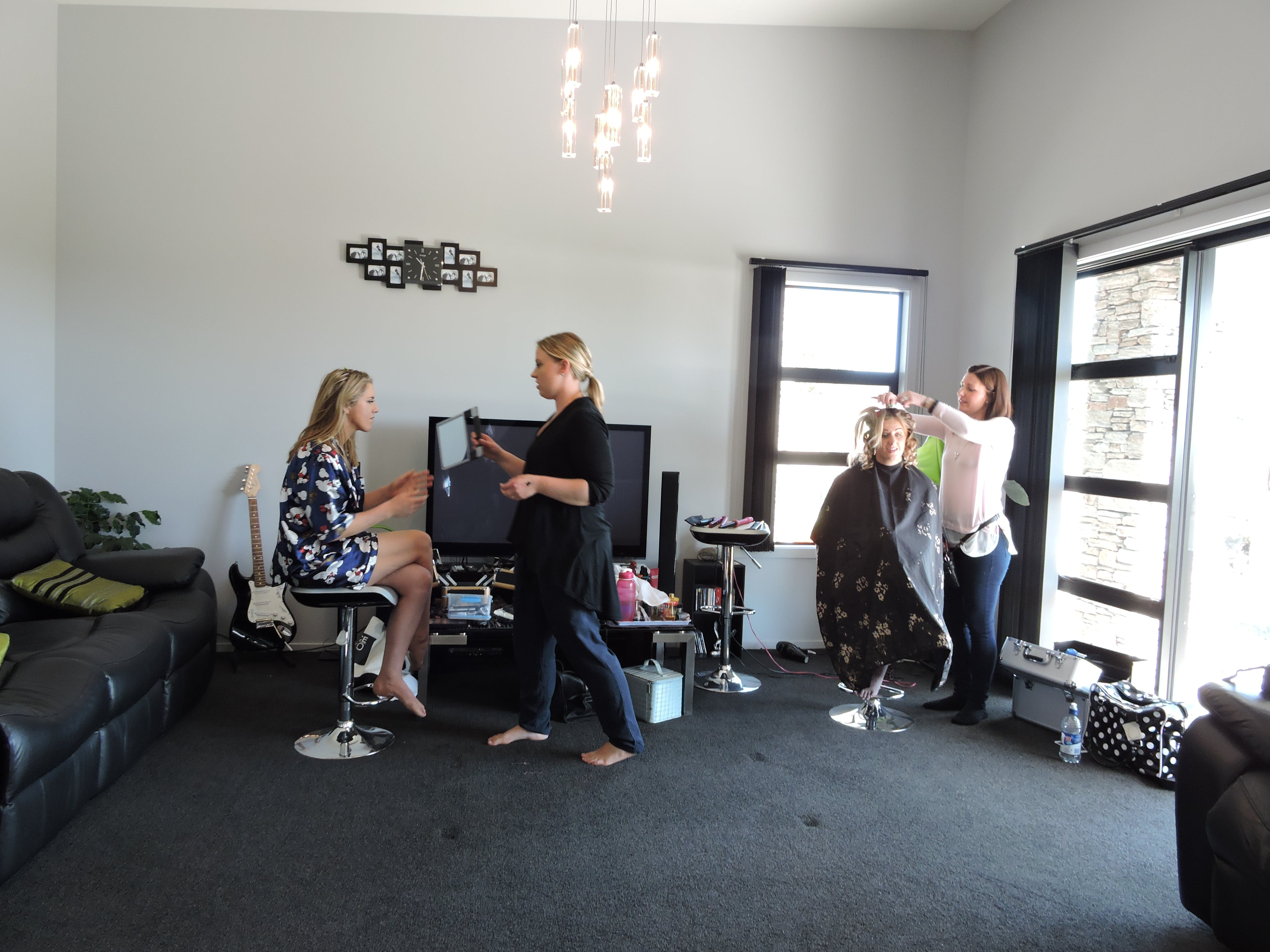 Wedding Party Mobile Hairdressing in Owners Lounge The Reservation B&B Gore