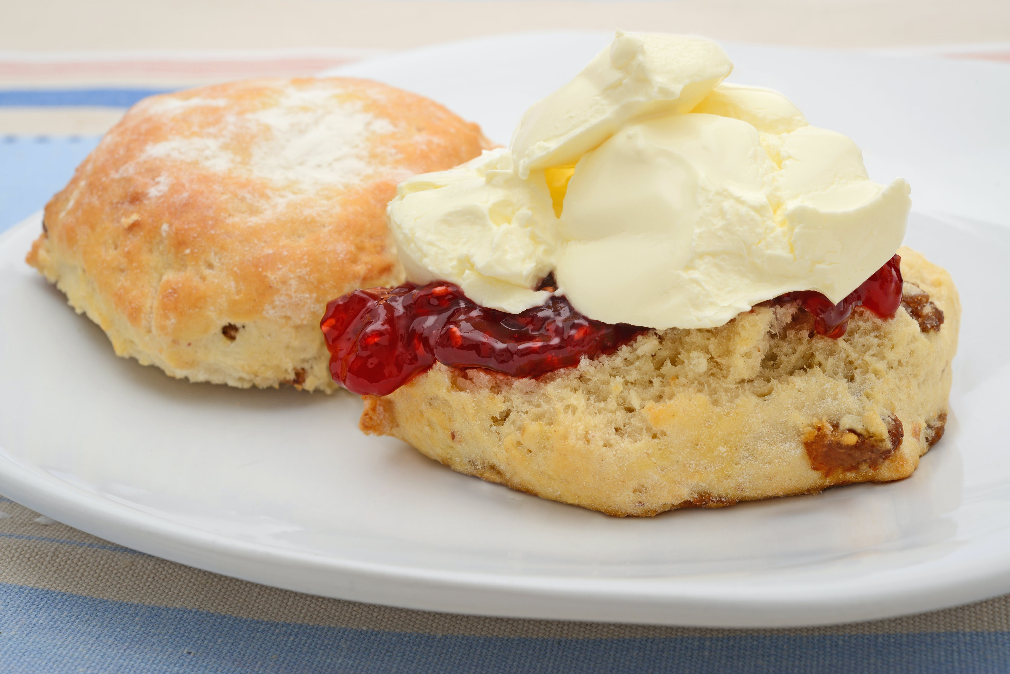 Home baked scones with clotted cream & jam