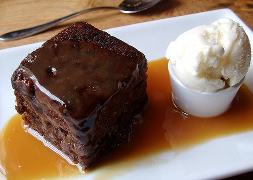 Sticky Toffee Pudding with Vanilla Ice Cream