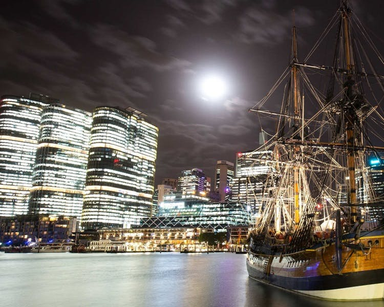 A replica of Captain Cook's ship Endeavour is one of the stars of the National Maritime Museum at Darling Harbour.